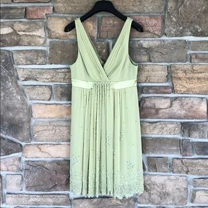 Light Green beaded BCBGMAXAZRIA Silk Dress